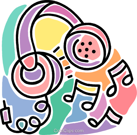 headphones, music, entertainment Royalty Free Vector Clip Art illustration vc007264