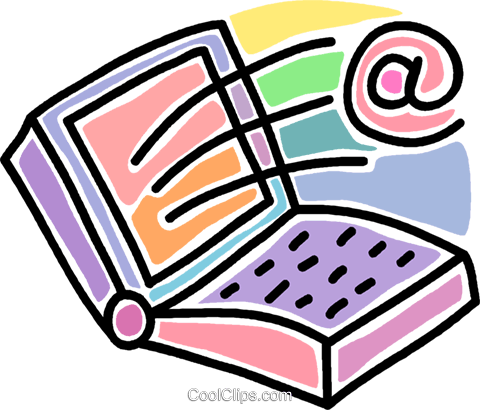 notebook computer with @ sign Royalty Free Vector Clip Art illustration vc007279