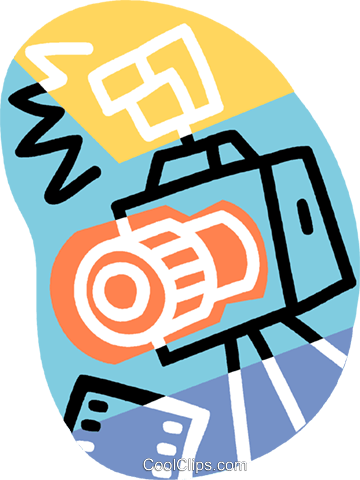 35 mm camera with flash Royalty Free Vector Clip Art illustration vc007280