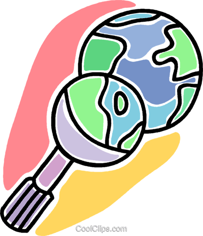 magnifying glass with planet earth Royalty Free Vector Clip Art illustration vc007287