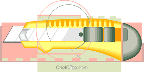 knife cutting tool or box cutter Royalty Free Vector Clip Art illustration vc007324