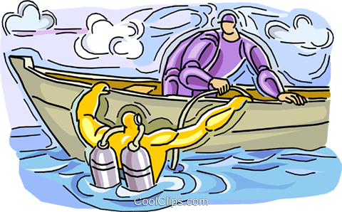 Scuba diver going into water Royalty Free Vector Clip Art illustration vc007331