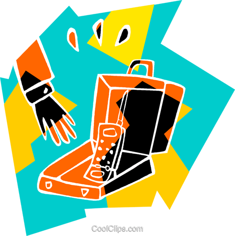 cell phone in briefcase Royalty Free Vector Clip Art illustration vc007365
