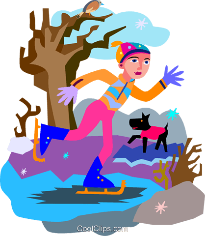 skating on pond Royalty Free Vector Clip Art illustration vc007398