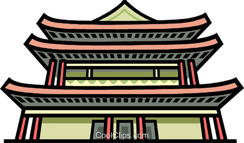 Asian Building Japanese Royalty Free Vector Clip Art Illustration