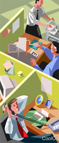 office workers at their desks Royalty Free Vector Clip Art illustration vc007442