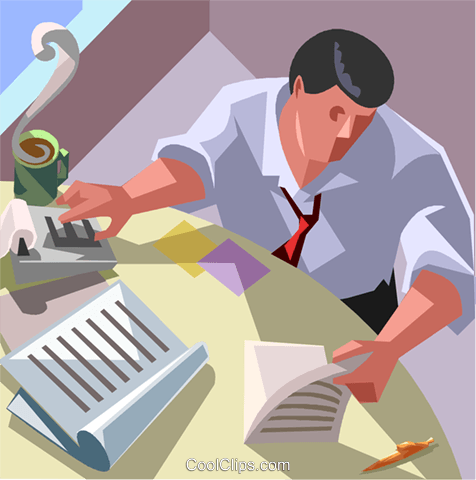 accounting, adding machine, office Royalty Free Vector Clip Art illustration vc007449