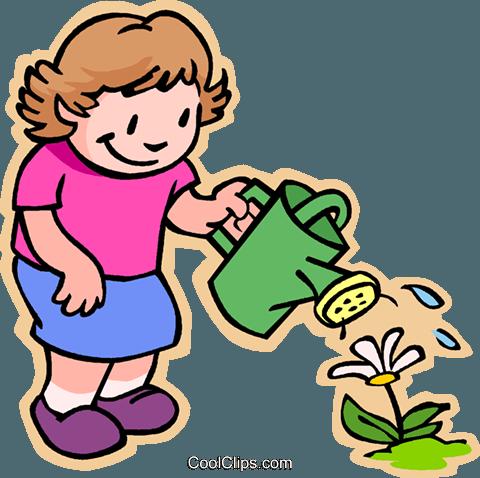 女孩花浇水 免版税矢量剪贴画插图