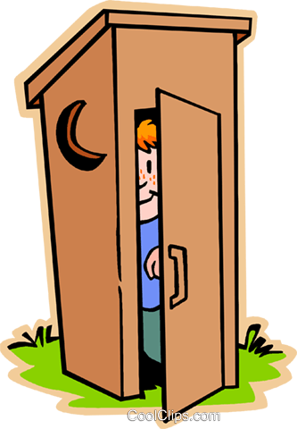 boy in outhouse, Johnny on spot Royalty Free Vector Clip Art illustration vc007458