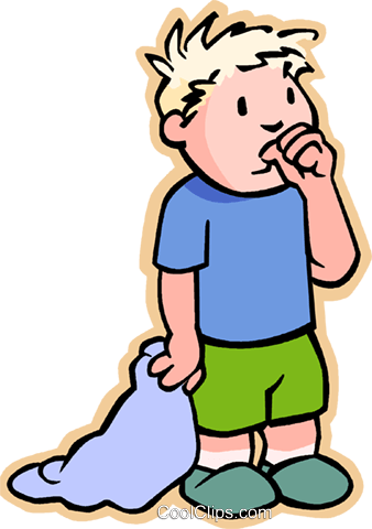 boy with security blanket, sucking thumb Royalty Free Vector Clip Art illustration vc007459