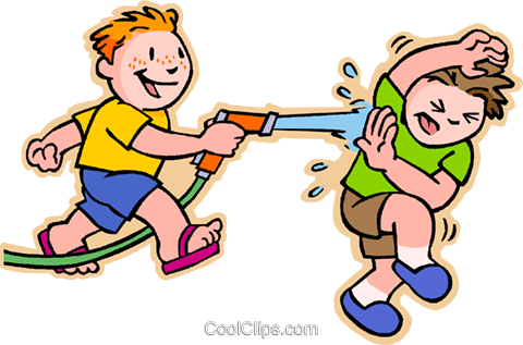 boys having squirt gun fight Royalty Free Vector Clip Art illustration vc007460