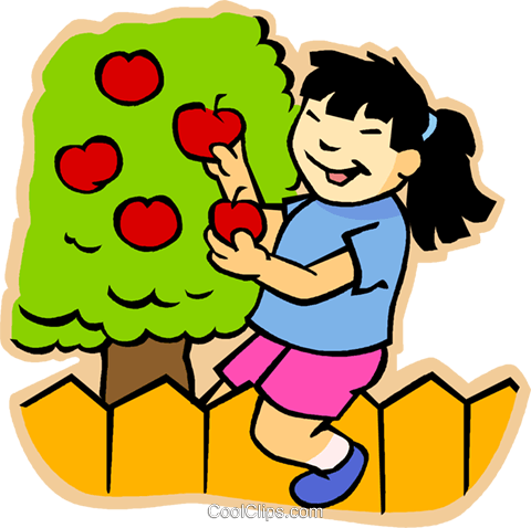 girl picking apples Royalty Free Vector Clip Art illustration vc007465