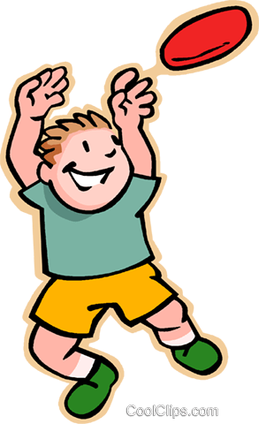 boy catching Frisbee Royalty Free Vector Clip Art illustration vc007466