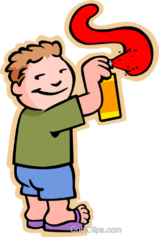 boy with spray can Royalty Free Vector Clip Art illustration vc007467