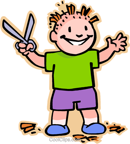 Boy with scissors Royalty Free Vector Clip Art illustration vc007476