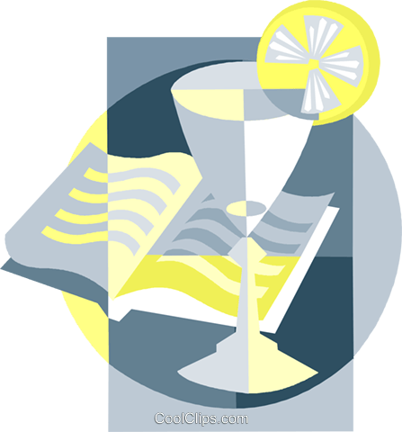 refreshing drink with a book Royalty Free Vector Clip Art illustration vc007486