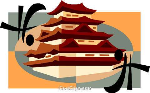 Japanese Pagoda Royalty Free Vector Clip Art illustration vc007521