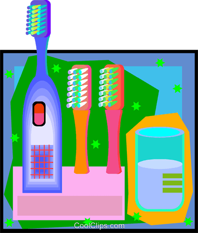 electric toothbrush for three Royalty Free Vector Clip Art illustration vc007536