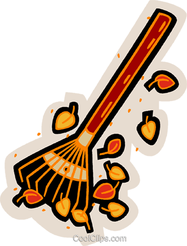 Rake with leaves Royalty Free Vector Clip Art illustration vc007572