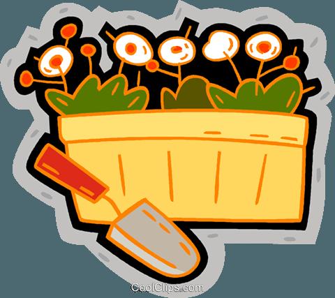 在一篮鲜花 免版税矢量剪贴画插图