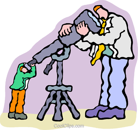 looking through telescope at man Royalty Free Vector Clip Art illustration vc007603