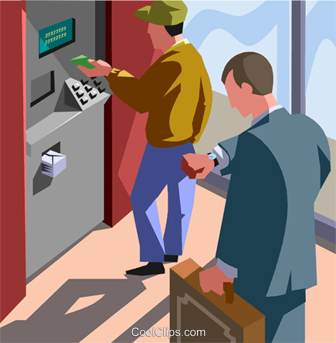 Automated teller machine, ATM, banking Royalty Free Vector Clip Art illustration vc007605