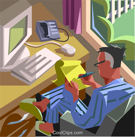 man working at home with computer Royalty Free Vector Clip Art illustration vc007610