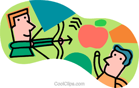 shooting an apple with bow and arrow Royalty Free Vector Clip Art illustration vc007651