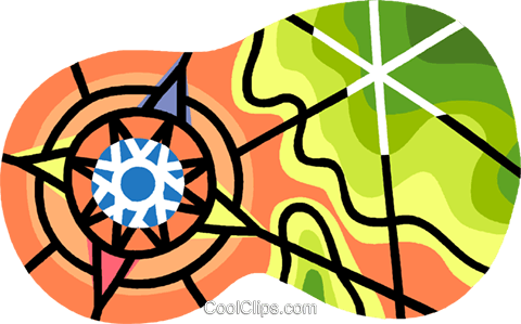 navigational symbol on contour map Royalty Free Vector Clip Art illustration vc007653