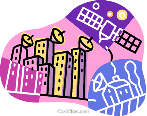 satellite communications Royalty Free Vector Clip Art illustration vc007662