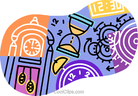 time, clocks and timepieces Royalty Free Vector Clip Art illustration vc007664