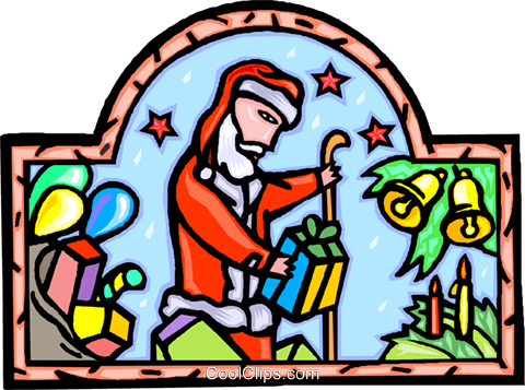 Santa Claus delivering presents Royalty Free Vector Clip Art illustration vc007781