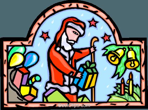 圣诞老人送礼物 免版税矢量剪贴画插图