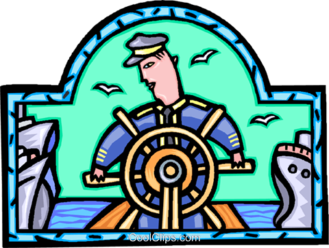 captain steering his ship Royalty Free Vector Clip Art illustration vc007782