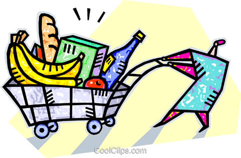 Grocery shopping Royalty Free Vector Clip Art illustration vc007796