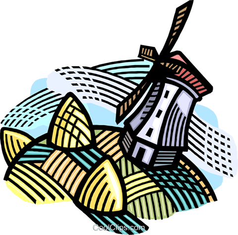 Dutch windmill Royalty Free Vector Clip Art illustration vc007797