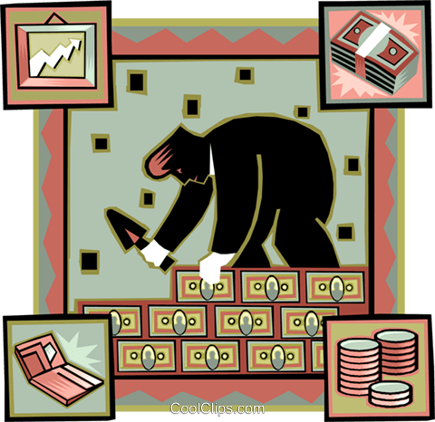 man building a wall of money (security) Royalty Free Vector Clip Art illustration vc007813