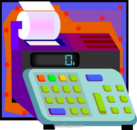 adding machine Royalty Free Vector Clip Art illustration vc007985