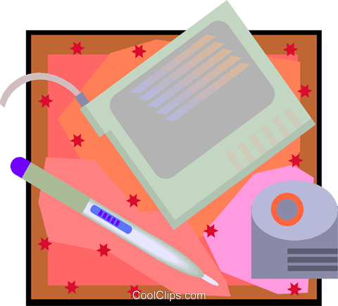 computer drawing tablet Royalty Free Vector Clip Art illustration vc007988