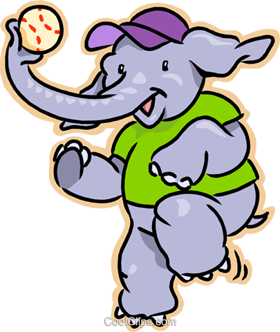 Elephant playing baseball Royalty Free Vector Clip Art illustration vc007992