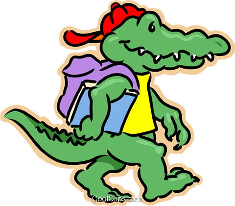 crocodile going to school Royalty Free Vector Clip Art illustration vc007993