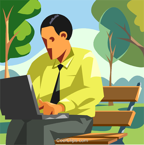 Man working with computer Royalty Free Vector Clip Art illustration vc008006