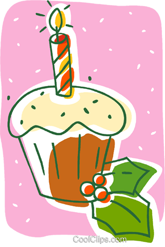 Christmas cup cake Royalty Free Vector Clip Art illustration vc008064