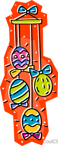 Easter eggs on string Royalty Free Vector Clip Art illustration vc008071