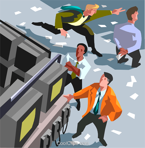 Stock market scene, buy, sell Royalty Free Vector Clip Art illustration vc008109