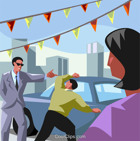 Used car salesman Royalty Free Vector Clip Art illustration vc008114