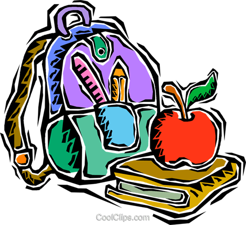 kids nap sack, books, apple for teacher Royalty Free Vector Clip Art illustration vc008128