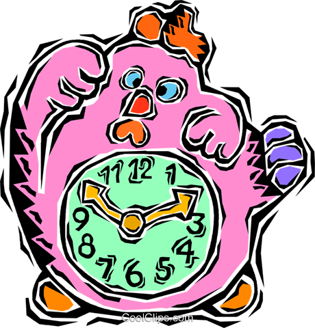 kids clock Royalty Free Vector Clip Art illustration vc008150