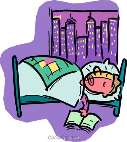 person sleeping in bed Royalty Free Vector Clip Art illustration vc008166