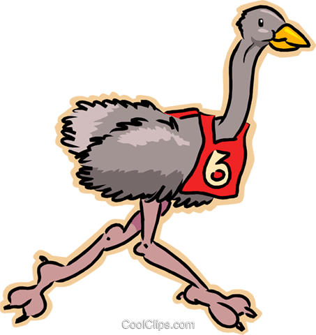 ostrich running race Royalty Free Vector Clip Art illustration vc008225